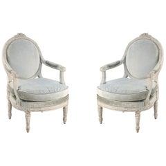 Pair of Italian Piedmontese Open Armchairs, Circa 1785
