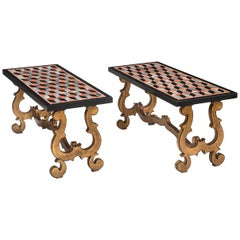 Pair of Italian Pietra Dura Marbles, Now with Later Coffee Table Bases