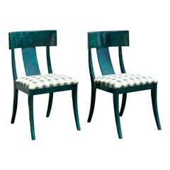 Pair of Italian Pietro Constantini Klismos Green Lacquer Dining Chairs
