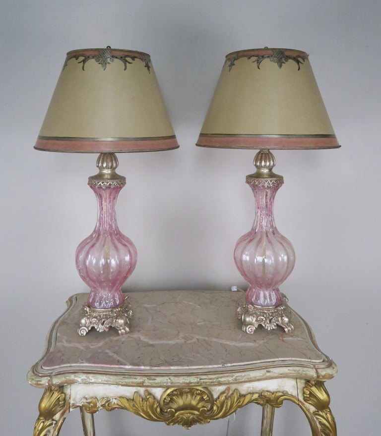 Pair of Italian Pink Murano Glass Lamps with Parchment Shades For Sale 5