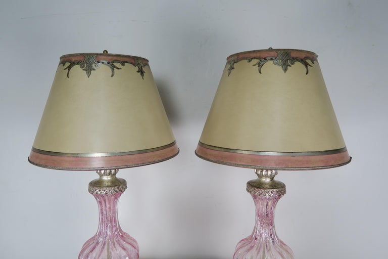 Gilt Pair of Italian Pink Murano Glass Lamps with Parchment Shades For Sale