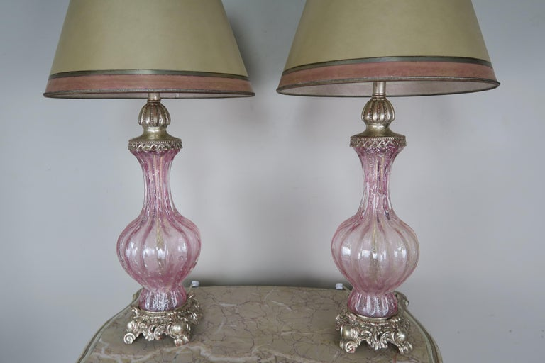 Pair of Italian Pink Murano Glass Lamps with Parchment Shades In Excellent Condition For Sale In Los Angeles, CA