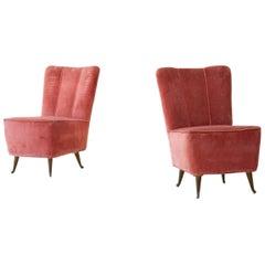 Pair of Italian Pink Velvet Easy Chairs by ISA, 1950s
