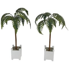 Pair of Italian Polychromed Tole Palm Trees