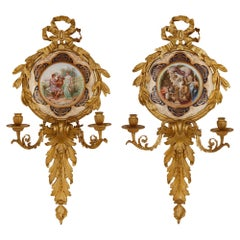 Pair of Italian Porcelain and Gilt Bronze Sconces by Pauly & Co.