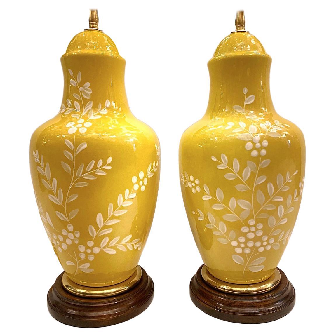 Pair of Italian Porcelain Foliage Motif Table Lamps