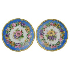 Pair of Italian Porcelain Plates with Flowers on a White and Blue Background