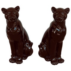 Pair of Italian Porcelain Seated Black Panthers