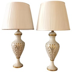 Pair of Italian Porcelain Table Lamps Mangani Firenze White and Gold Vases 1980