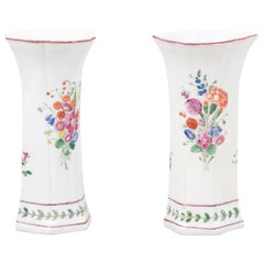 Pair of Italian Porcelain Vases with Colorful Painted Floral Motifs, circa 1805