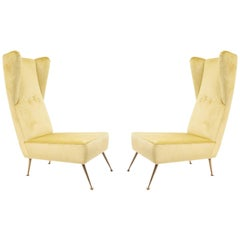 Pair of Italian Post-War '1950s' High Wing Back Side Chairs