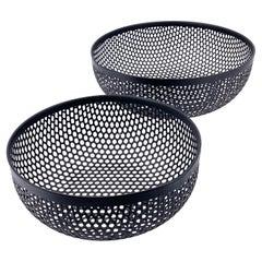 Pair of Italian Postmodern Fruit Basket Catch It All in Perforated Metal