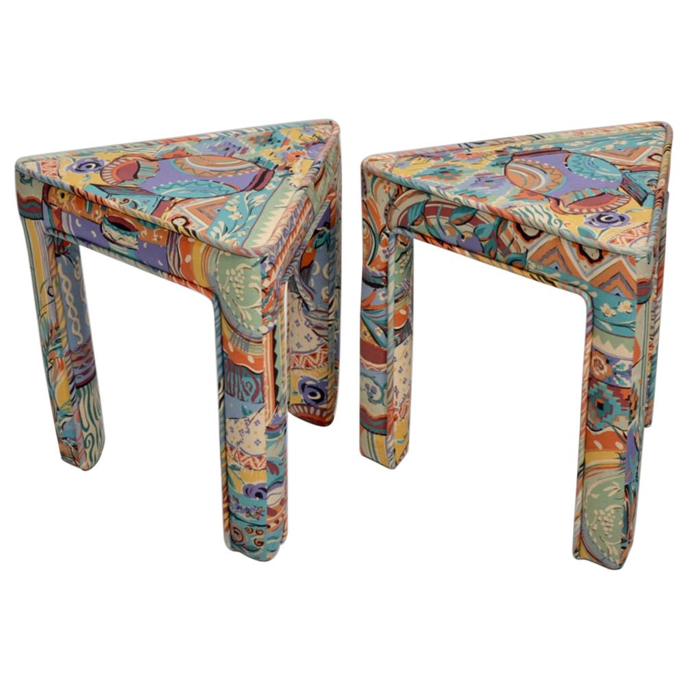 Pair of Italian Postmodern Triangular Upholstered Stools or End Tables