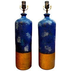 Pair of Italian Pottery Lamps by Aldo Londi for Bitossi