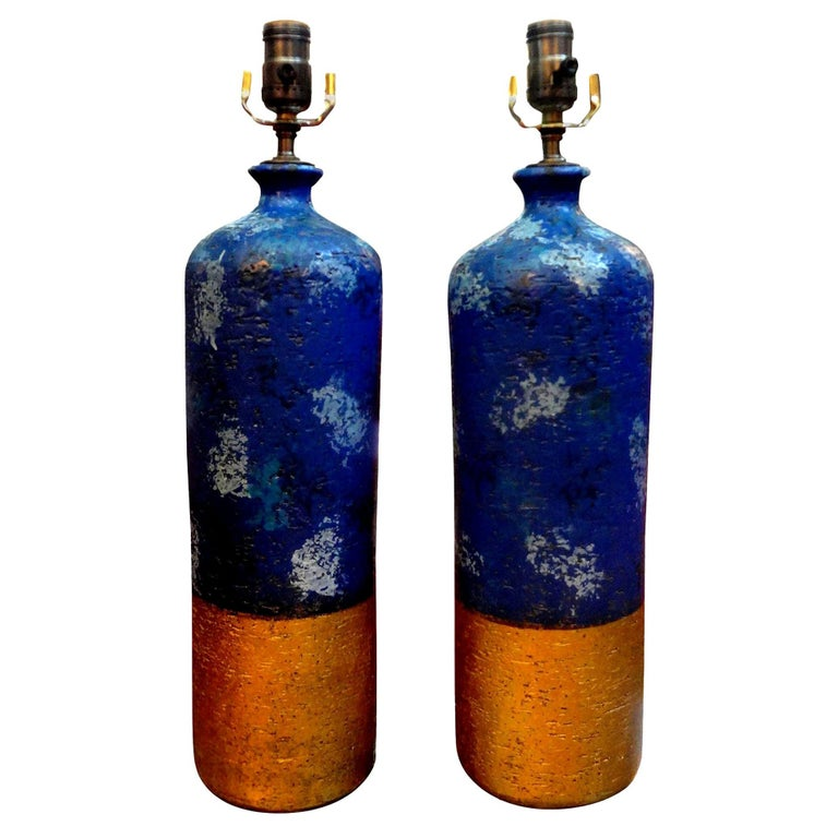 Pair of Italian Pottery Lamps by Aldo Londi for Bitossi For Sale