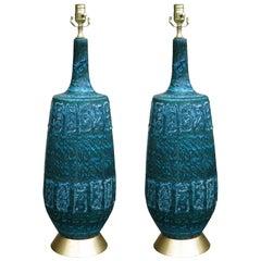 Pair of Italian Pottery Lamps on Custom Giltwood Bases, circa 1960s