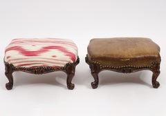 Pair of Italian Provincial Late 18th Century Rococo Carved Walnut Foot Stools