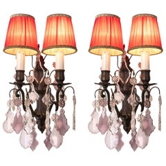 Pair of Italian Purple Crystal Sconces 20th Century Two-Light Dark Brass Finish