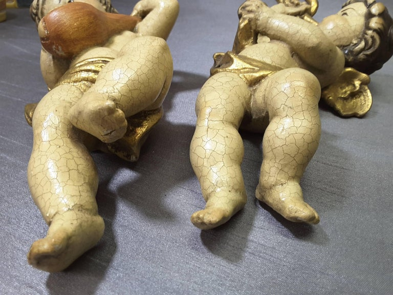Pair of Italian Putti Wood Carved Hand-Painted Gilt Late 19th-Early 20th Century For Sale 2
