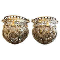 "Pair of Italian ""Quoizel Beaded Sconces"""