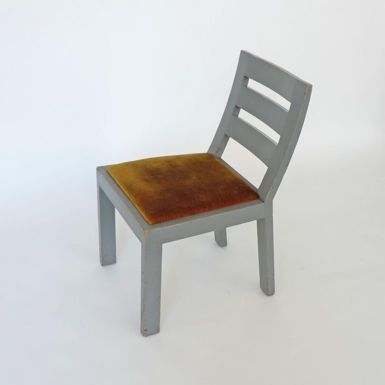 Velvet Pair of Italian Rationalist Movement Chairs, Italy, 1930s For Sale