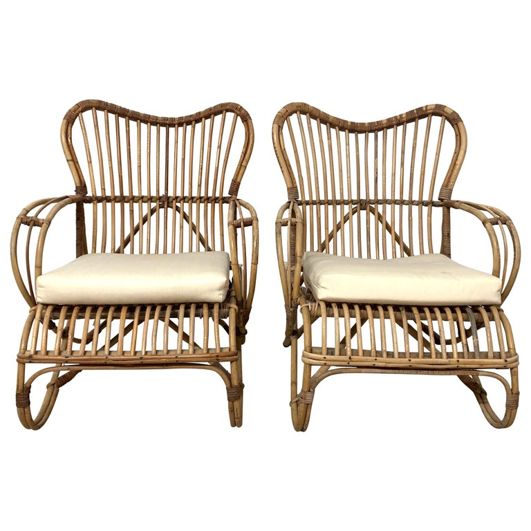 Pair of Italian Rattan and Wicker Chairs by Bonacina For Sale