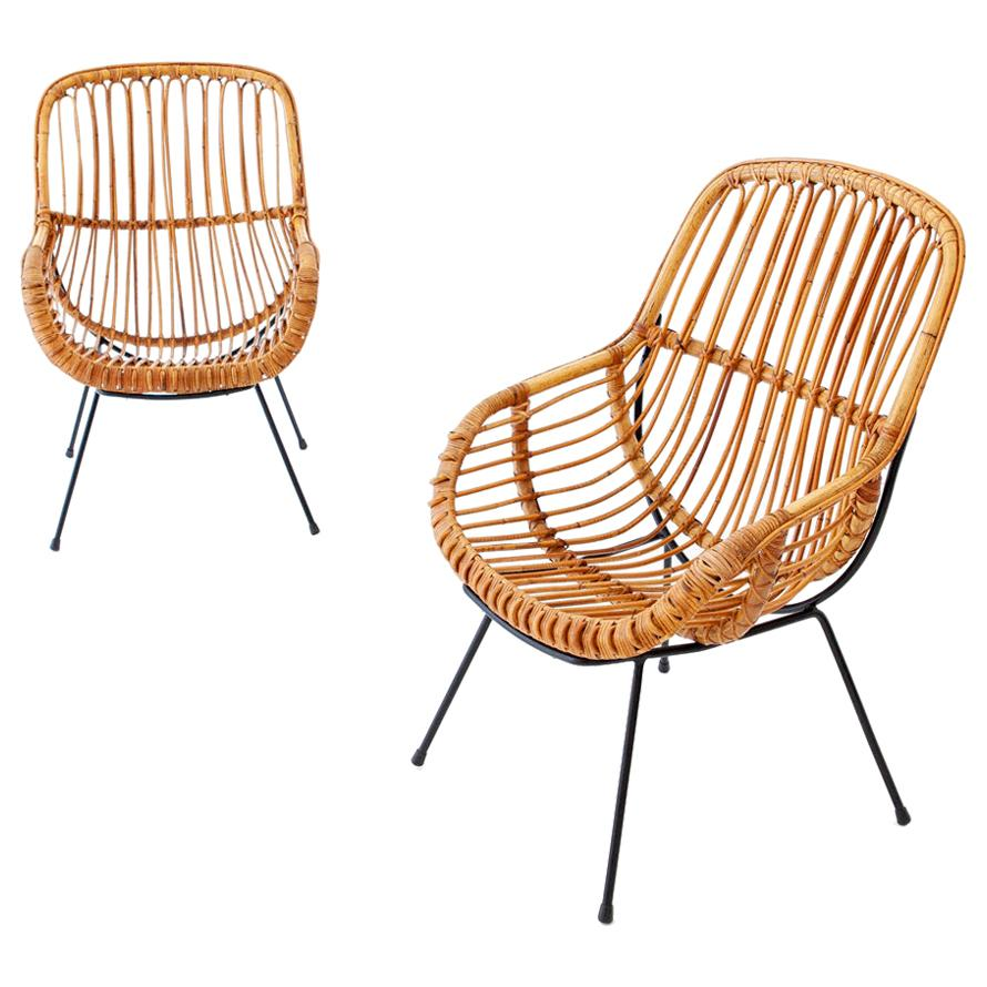 Pair of Italian Rattan, Wicker and Iron Armchairs, 1950s