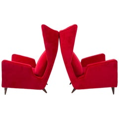 Pair of Italian Red Armchair by Mario Oreglia in Velvet, Published, 1949