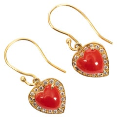 "Pair of Italian Red ""Moro"" Coral Heart Earrings"