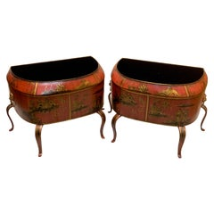 Pair of Italian Red Tole Chinoiserie Gilt Decorated Floor Planters