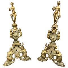Pair of Italian Renaissance Revival Bronze Andirons