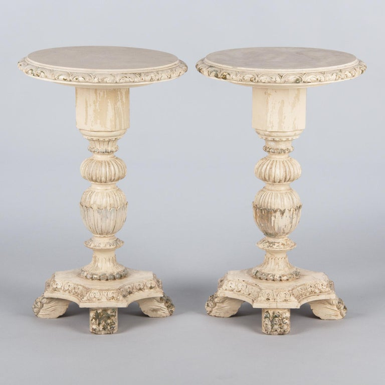 Pair of Italian Renaissance Revival Painted Side Tables, 1950s In Good Condition For Sale In Austin, TX