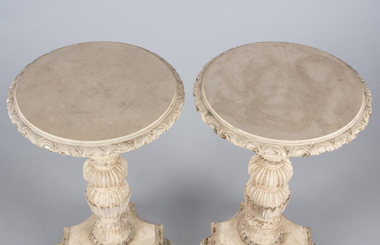 20th Century Pair of Italian Renaissance Revival Painted Side Tables, 1950s For Sale