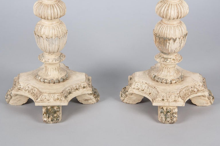 Beech Pair of Italian Renaissance Revival Painted Side Tables, 1950s For Sale