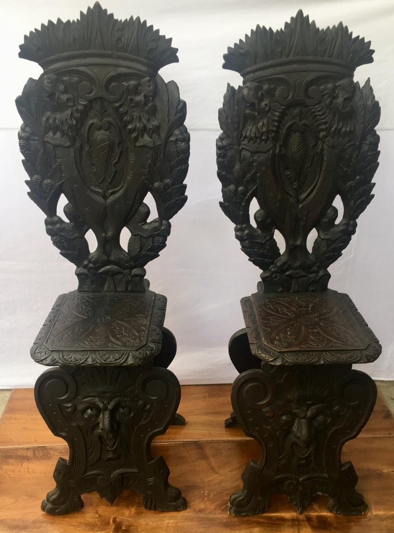 Pair of Italian Renaissance Revival Sgabello Chairs, circa 1870 For Sale 3