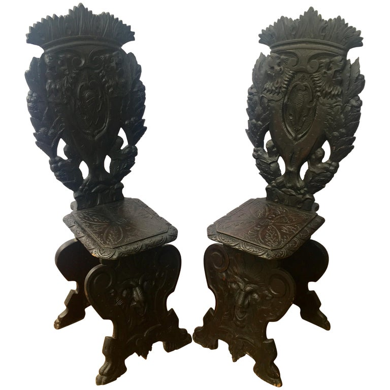 Pair of Italian Renaissance Revival Sgabello Chairs, circa 1870 For Sale