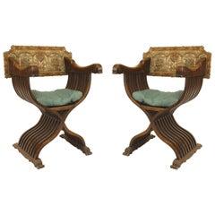 Pair of Italian Renaissance Savonarola Style Armchairs