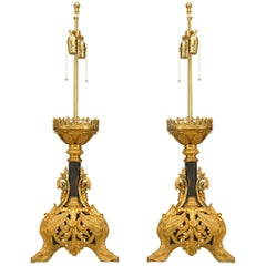 Pair of Italian Renaissance Style Gilt Filigree Table Lamps