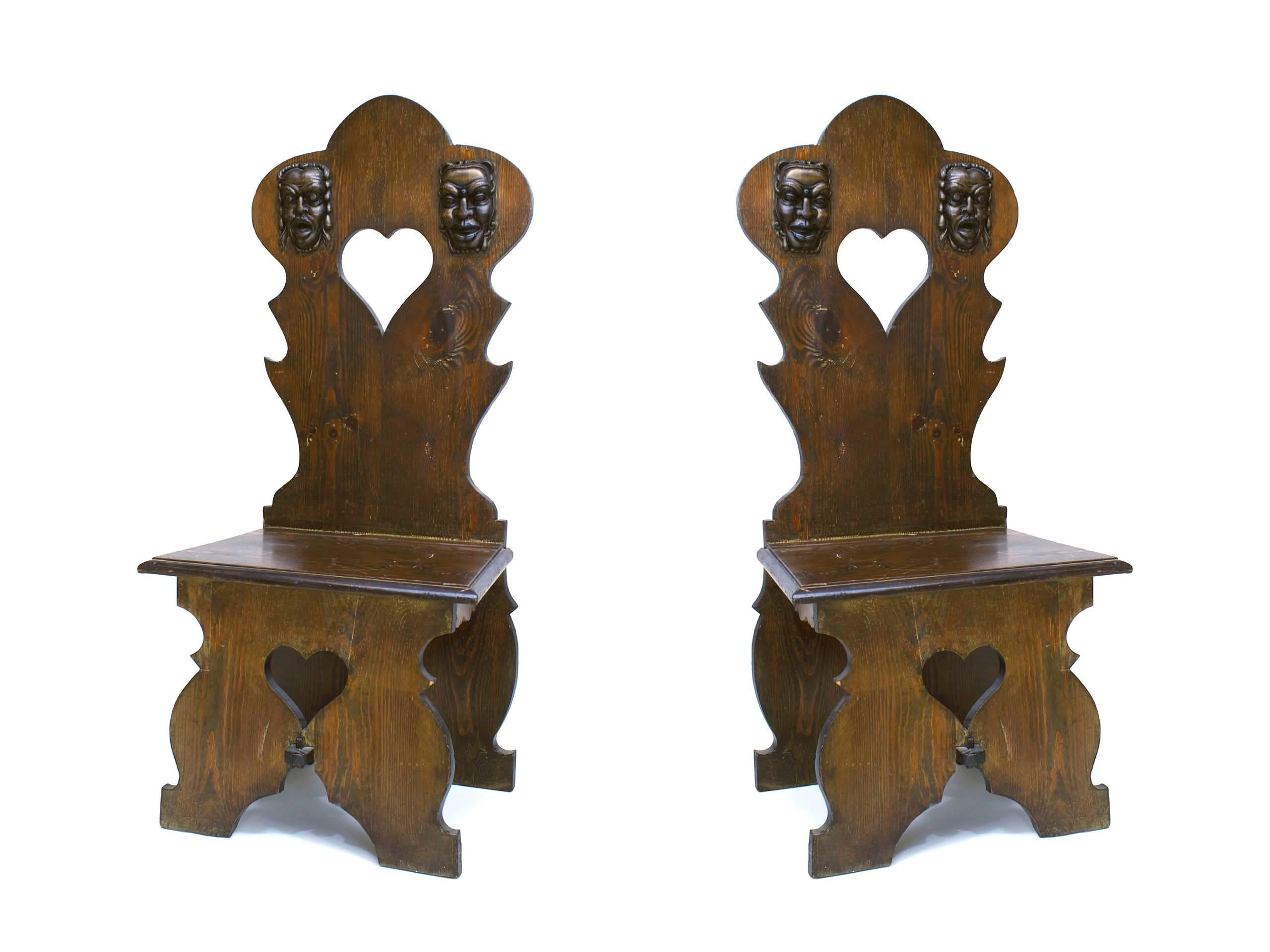 Pair of italian renaissance style sgabello side chairs for sale at