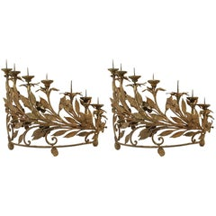 Pair of Italian Renaissance Style Wrought Iron Candelabra