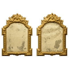 Pair of Italian Repousse Brass Mirrors