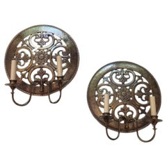 Pair of Italian Repoussé Sconces