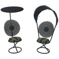 Pair of Italian Riviera Chic Outdoor Enameled Steel Canopy Chairs