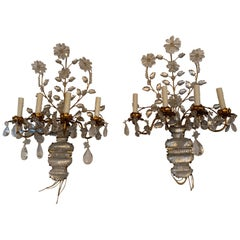 Pair of Italian Rock Crystal and Gilt Metal Sconces