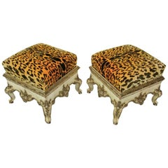 Pair of Italian Rococo Cream Painted and Silver Gilt Tabouret, Rome