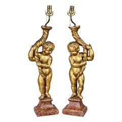 Pair of Italian Rococo Giltwood Figural Lamps
