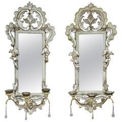 Pair of Italian Rococo Gray Painted and Silver Gilt Girandole Mirrors