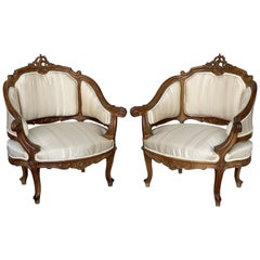 Pair of Italian Rococó Louis XV Fauteuils or Slipper Chairs