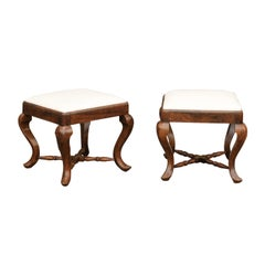 Pair of Italian Rococo Style, 1860s Walnut Stools with X-Form Cross Stretcher
