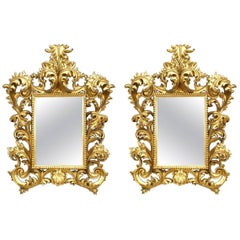 Pair of Italian Rococo Style Giltwood Wall Mirrors